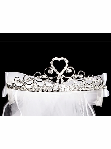 "24"" White Embroidered Veil on Rhinestone Tiara w/ Organza Bows in Back"