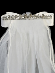 24� White Veil on Crystal Rhinestone Tiara w/ Satin Bows At the Back