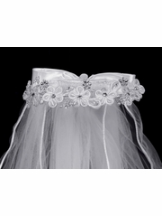 "24"" White Veil w/ Corded Flowers & Rhinestone accents w/ Satin Bow at Back"