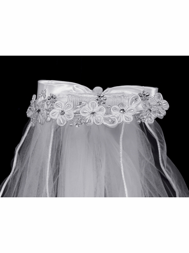 24'' White Veil w/ Corded Flowers & Rhinestone accents w/ Satin Bow at Back