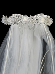 "24"" White Veil w/ Organza & Crystal Flowers w/ Satin Bows At The Back"