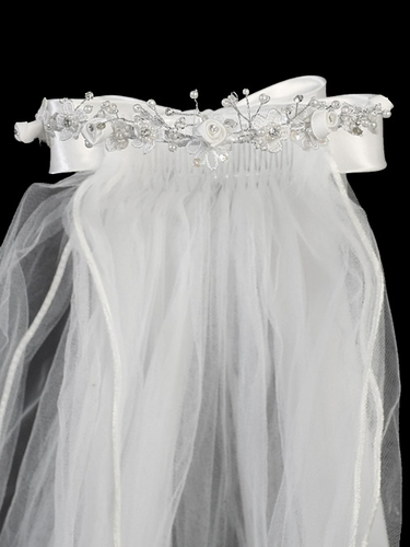 "24"" White Veil w/ Satin Flowers & Satin Bows At the Back"
