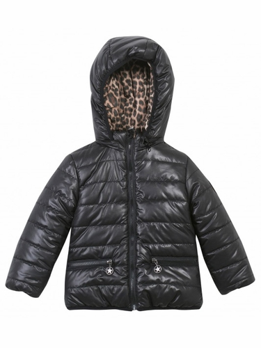 3 Pommes Glitter Chic Girl Reversible Black & Leopard Jacket