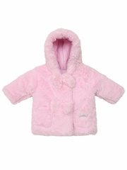 3 Pommes Pale Rose Faux Fur Jacket