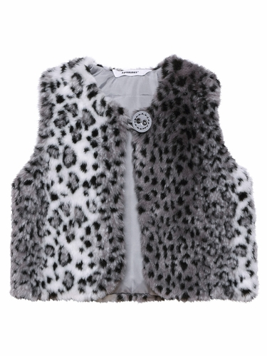 3 Pommes Star Leopard Faux Fur Grey Vest