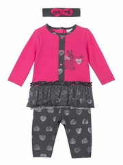 3 Pommes Sweet Girl Fuchsia & Gray Outfit w/ Matching Headband