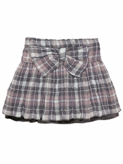 3 Pommes Taupe Flannel Skirt w/ Large Bow