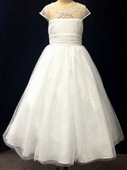 CLEARANCE - Alfred Angelo Ivory Illusion Neckline Dress w/ Embroidered Metallic Accents, Crystal Beading, Sequins, and Pearls