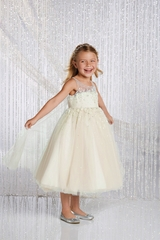 CLEARANCE - Alfred Angelo Ivory/ Silver Elsa Inspired Disney Princess Flower Girl Gown