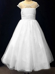 CLEARANCE - Alfred Angelo White Illusion Neckline Dress w/ Embroidered Metallic Accents, Crystal Beading, Sequins, and Pearls
