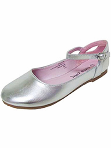 Little Angel BRITT-873D Silver Flat w/ Ankle Strap Shoe