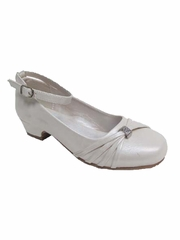 Little Angels Daisy-890E Ivory Low Heel w/ Ankle Strap Shoe