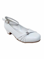 Little Angels Daisy-890E White Low Heel w/ Ankle Strap Shoe