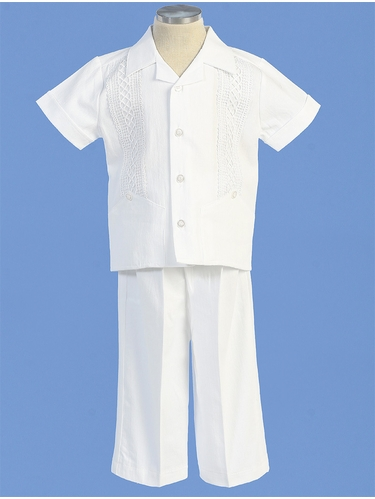 Angels Garments BG-415 White Boys Cotton Guayabera Set