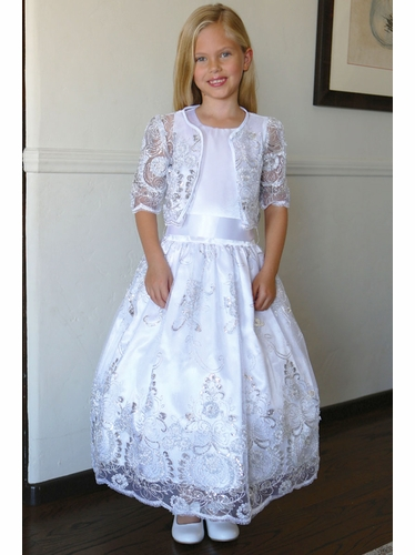 Angels Garments DR-1703 White  Drop Waist Embroidered Organza Dress w/ Bolero