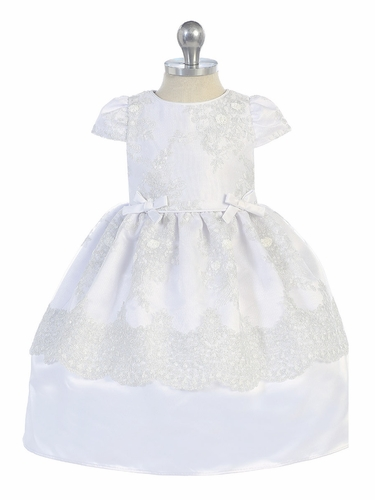 Angels Garments DR-496 White Baby's Satin Dress w/ Embroidered Sequin Mesh Overlay