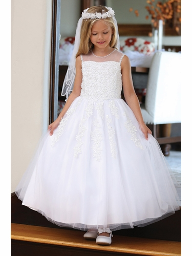 Angels Garments DR-5205 White Floral Lace Tulle Dress w/ Pearl Illusion Neckline