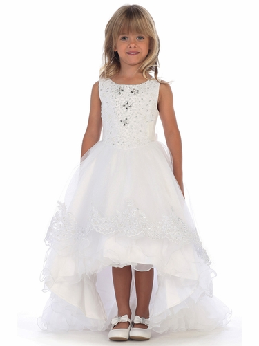 Angels Garments DR-5207 White High Low Ruffle Skirt w/ Rhinestone Embroidered Bodice