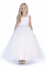 Angels Garments DR-5209 White Tulle & Lace Dress w/Thick Sleeve Straps