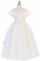 Angels Garments DR-5211 White Embroidered  Bodice w/ Lace Trim Tulle Skirt