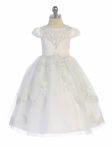 Angels Garments DR-5213 White Cap Sleeve Layered Tulle Dress w/ Lace Trim