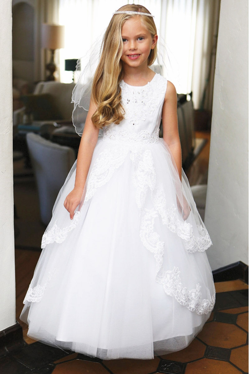 Angels Garments DR-5215 White Layered Tulle Dress w/ Lace Trim ...