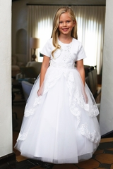Angels Garments DR-5215 White Layered Tulle Dress w/ Lace Trim & Heart Shaped Back & Bolero