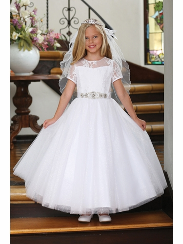 Angels Garments DR-5227 White Lace & Sparkly Tulle Dress w/ Jeweled Sash