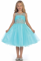 Angels Garments DR-5240 Aqua Knee Length Ruffled Tulle w/ Beaded Bodice Dress