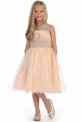 Angels Garments DR-5240 Champgne Knee Length Ruffled Tulle w/ Beaded Bodice Dress