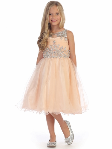 Angels Garments DR-5240 Champagne Knee Length Ruffled Tulle w/ Beaded Bodice Dress
