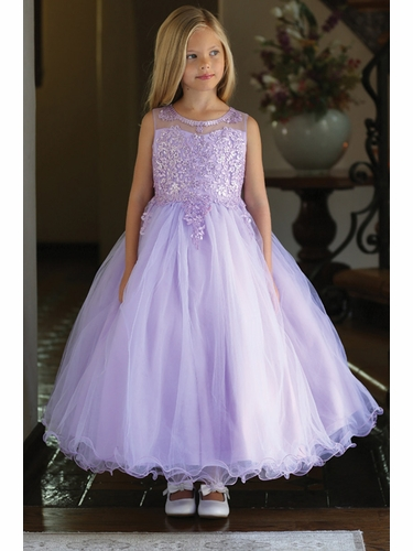 Angels Garments DR-5241 Lilac Satin Embroidered Sequin & Cording Dress