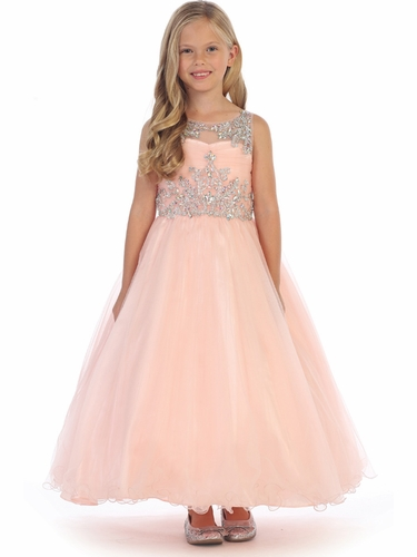 Angels Garments DR-5246 Blush Tulle Dress w/ Jeweled Bodice