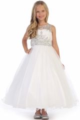 Angels Garments DR-5246 White Tulle Dress w/ Jeweled Bodice