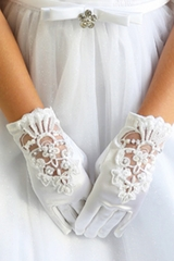 Angels Garments GL-503G White Embroidered & Pearl Gloves