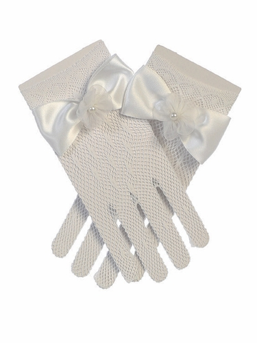 Angels Garments GL-704G White Net Gloves w/ Satin Bow & Flower
