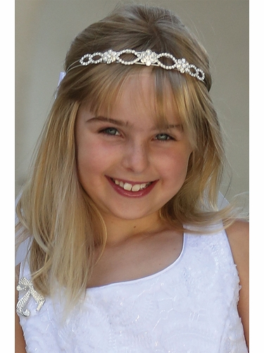 Angels Garments VL-1028 Rhinestone Headband w/ Embroidered Veil