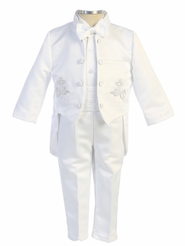 Angels Garments White TX-116 5 PC Tuxedo w/ Silver Embroidered Cross
