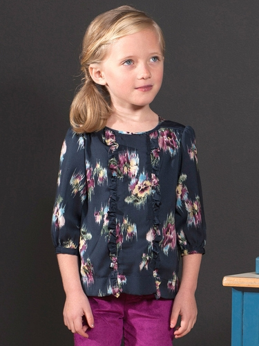 Anthem of the Ants Water Color Floral Café Blouse w/ Ruffle