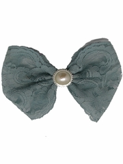 Antique Blue Lace Bow w/ Pearl Clip