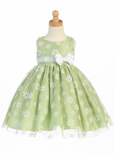 Apple Green Flower Flocked Tulle Dress