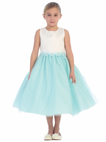 Aqua 2 Tone Dress w/ Flower Trim
