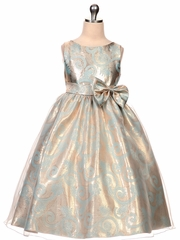 Aqua & Copper Organza Overlay Jacquard Dress