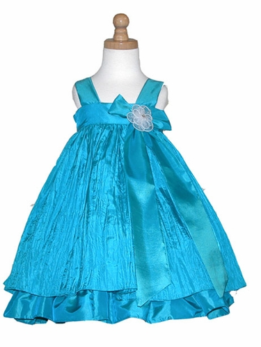 Aqua Crinkled Taffeta Dress w/ Bow & Flower