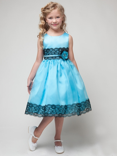Aqua Dress w/ Flower & Black Lace Detailing