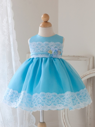 Aqua Dress w/ Lace Detailing & Flower