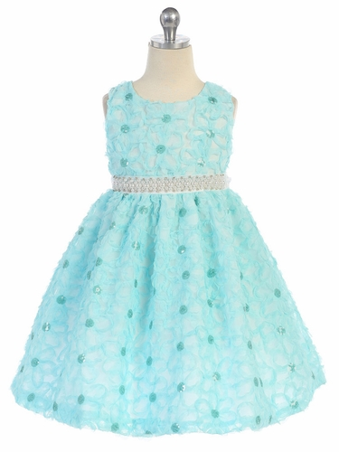 Aqua Floral Ribbon Dress w/ Pearl Waistband