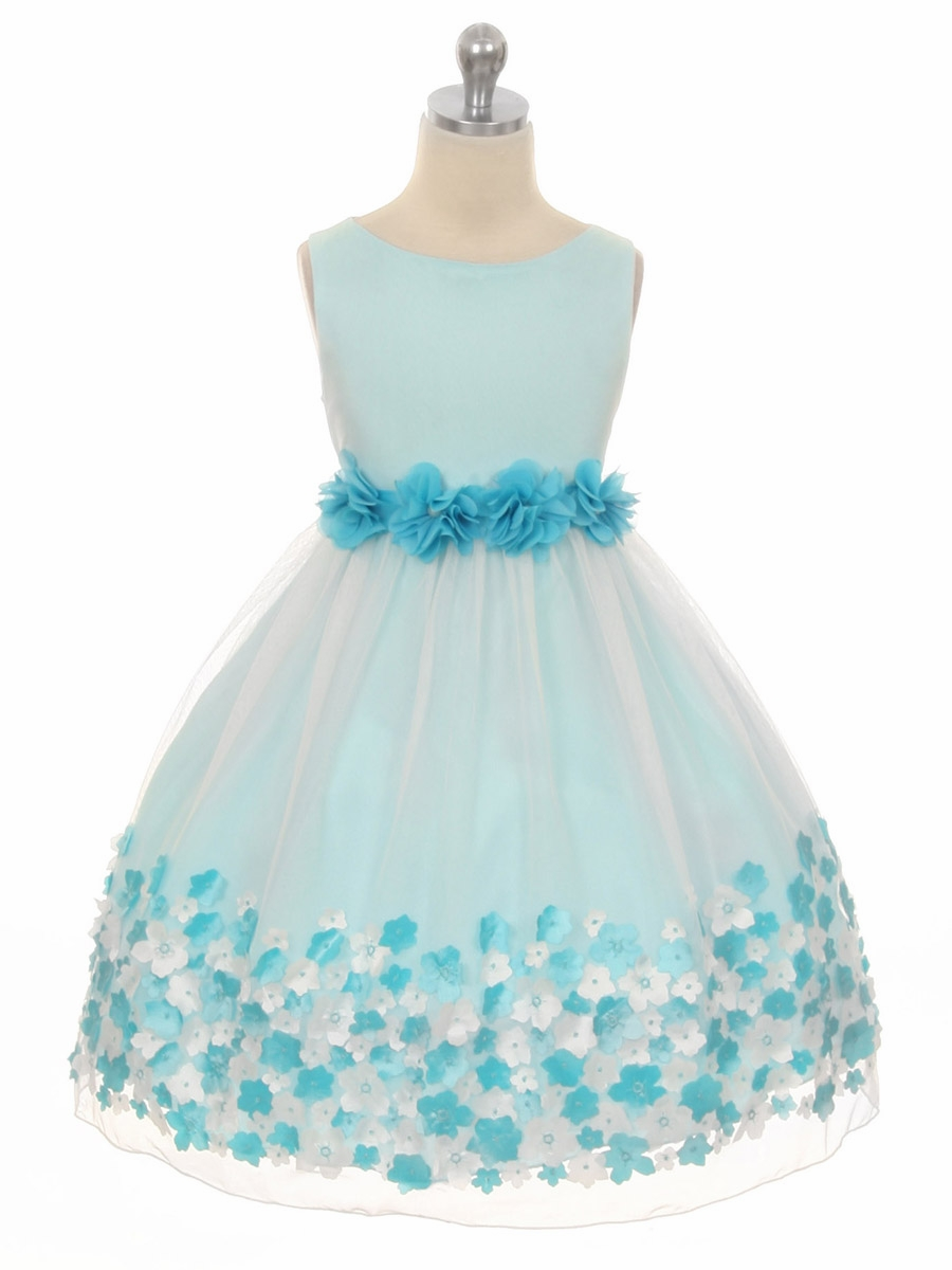 162c21656bbc7 ... Girl Dresses > Aqua Flower Mesh Dress. Click to Enlarge ...