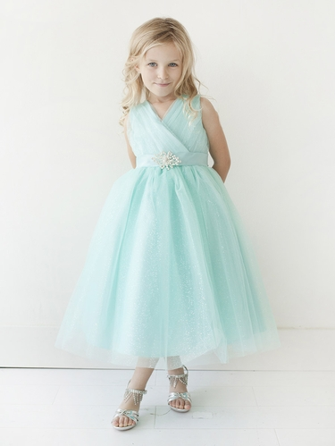 Aqua Glitter V Neck Tulle Dress w/ Rhinestone Brooch