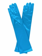 Aqua Long Satin Gloves